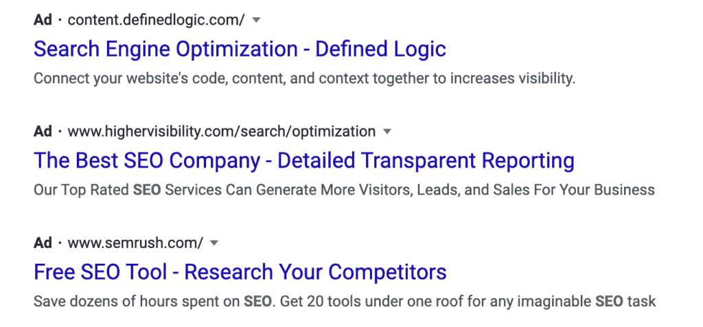 Search Engine Optimization Ads