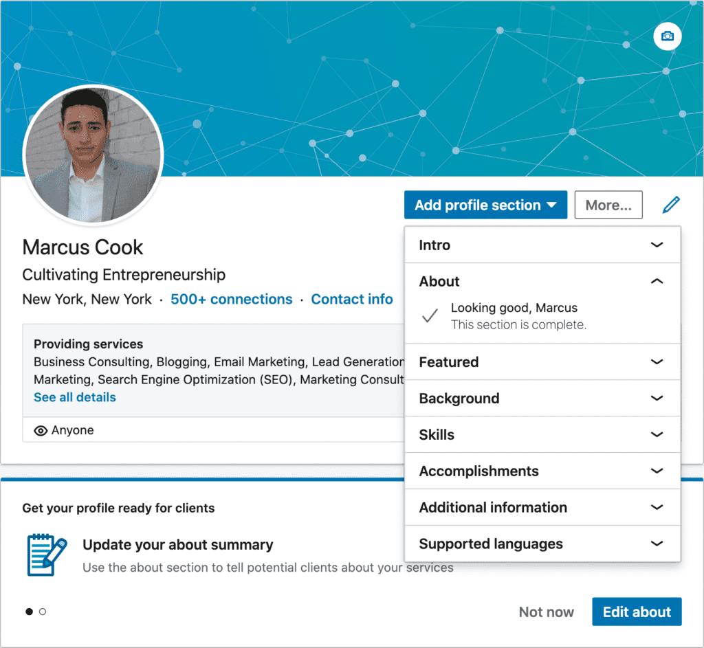 LinkedIn profile selection